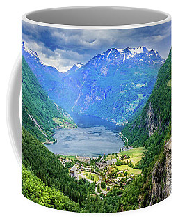Coffee Mug featuring the photograph View On Geiranger From Flydalsjuvet by Dmytro Korol