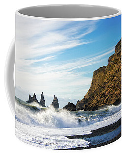 Coffee Mug featuring the photograph Vik Reynisdrangar Beach And Ocean Iceland by Matthias Hauser