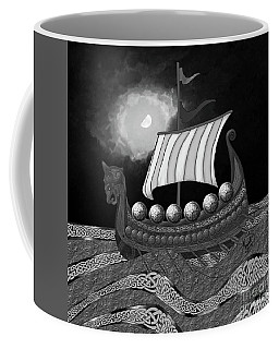 Coffee Mug featuring the digital art Viking Ship_bw by Megan Dirsa-DuBois