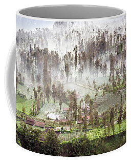 Coffee Mug featuring the photograph Village Covered With Mist by Pradeep Raja Prints