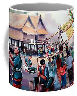 Village Rocket Festival-vintage Painting Coffee Mug