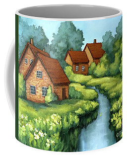 Coffee Mug featuring the painting Village Summer by Inese Poga
