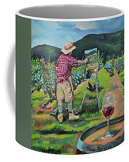 Coffee Mug featuring the painting Vineyard Plein Air Painting - We Paint With Wine by Jan Dappen