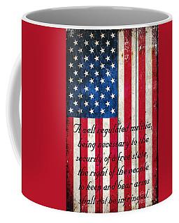 Vintage American Flag And 2nd Amendment On Old Wood Planks Coffee Mug by M L C