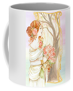 Vintage Art Nouveau Flower Lady Coffee Mug