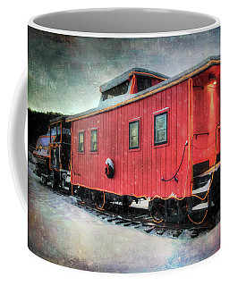 Coffee Mug featuring the photograph Vintage Caboose - Winter Train by Joann Vitali