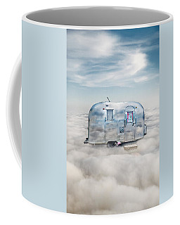 Vintage Camping Trailer In The Clouds Coffee Mug by Jill Battaglia