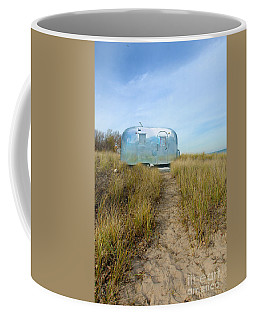 Vintage Camping Trailer Near The Sea Coffee Mug by Jill Battaglia