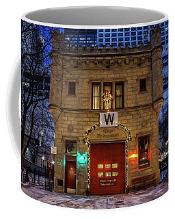 Vintage Chicago Firehouse With Xmas Lights And W Flag Coffee Mug