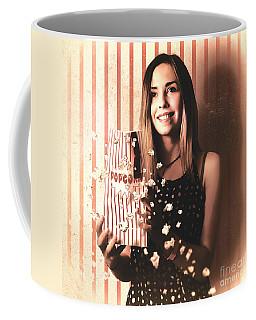Vintage Cinema Girl With Movie Popcorn. Retro Film Coffee Mug