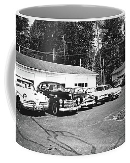 Coffee Mug featuring the photograph Vintage Classic Cars In Black And White by Trina Ansel