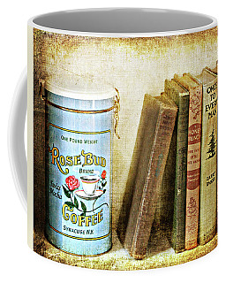 Coffee Mug featuring the photograph Vintage Coffee And Books by Trina Ansel