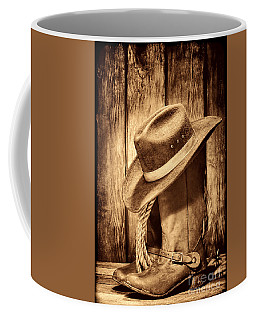 Vintage Cowboy Boots Coffee Mug by American West Legend By Olivier Le Queinec
