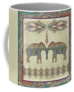 Coffee Mug featuring the painting Vintage Elephants Kashmir Paisley Shawl Pattern Artwork by Audrey Jeanne Roberts