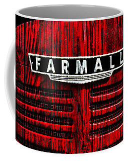 Vintage Farmall Red Tractor With Wood Grain Coffee Mug