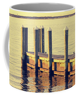Vintage Film Look Shot Of A Pier By The Barnegat Bay In New Jers Coffee Mug