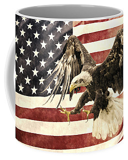 Coffee Mug featuring the photograph Vintage Flag With Eagle by Scott Carruthers