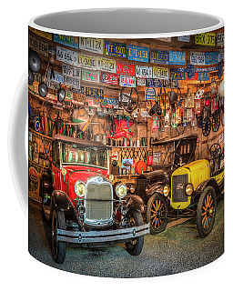 Coffee Mug featuring the photograph Vintage Fords Collectibles by Debra and Dave Vanderlaan