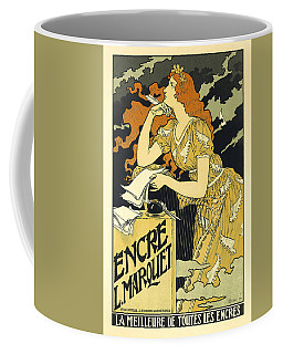 Vintage French Advertising Art Nouveau Encre L'marquet Coffee Mug