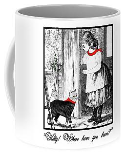 Vintage Girl Lets In Her Gray Cat Coffee Mug
