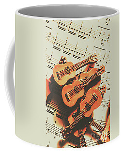 Vintage Guitars On Music Sheet Coffee Mug