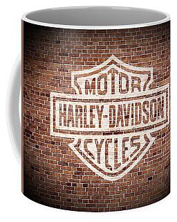 Vintage Harley Davidson Logo Painted On Old Brick Wall Coffee Mug