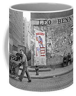 Vintage Hockey Poster Coffee Mug by Andrew Fare