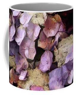 Coffee Mug featuring the mixed media Vintage Hydrangea by Susan Maxwell Schmidt