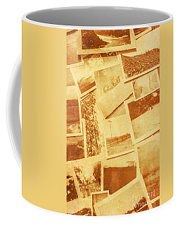 Vintage Image Of Various Photographs On Table  Coffee Mug