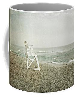 Vintage Inspired Beach With Lifeguard Chair Coffee Mug by Brooke T Ryan