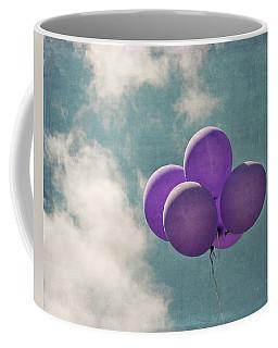 Vintage Inspired Purple Balloons In Blue Sky Coffee Mug by Brooke T Ryan