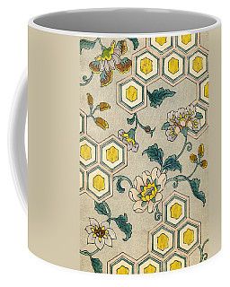 Vintage Japanese Illustration Of Blossoms On A Honeycomb Background Coffee Mug