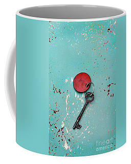 Coffee Mug featuring the photograph Vintage Key With Red Tag by Jill Battaglia