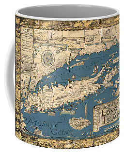 Vintage Map Of Long Island Coffee Mug by James Kirkikis