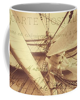 Vintage Nautical Sailing Typography In Sepia Coffee Mug