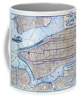 Vintage New York Map Coffee Mug by Delphimages Photo Creations