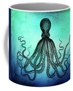 Vintage Octopus On Blue Green Watercolor Coffee Mug