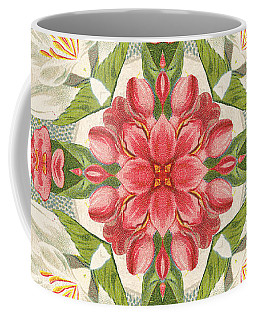 Vintage Pink And White Floral Pattern Coffee Mug