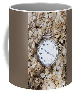 Coffee Mug featuring the photograph Vintage Pocket Watch Over Dried Flowers by Edward Fielding