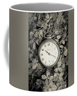 Coffee Mug featuring the photograph Vintage Pocket Watch Over Flowers by Edward Fielding