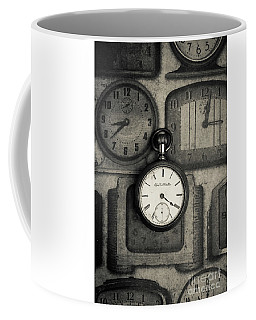 Coffee Mug featuring the photograph Vintage Pocket Watch Over Old Clocks by Edward Fielding
