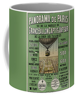 Coffee Mug featuring the photograph Vintage Poster Of Great Balloon View Of Paris 1878 by John Stephens