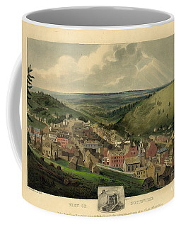 Coffee Mug featuring the photograph Vintage Pottsville Pennsylvania Etching With Remarque by John Stephens