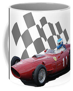 Coffee Mug featuring the photograph Vintage Racing Car And Flag 2 by John Colley