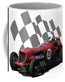 Coffee Mug featuring the photograph Vintage Racing Car And Flag 3 by John Colley
