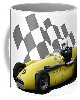 Coffee Mug featuring the photograph Vintage Racing Car And Flag 4 by John Colley