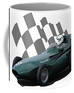 Coffee Mug featuring the photograph Vintage Racing Car And Flag 5 by John Colley