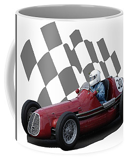 Coffee Mug featuring the photograph Vintage Racing Car And Flag 6 by John Colley