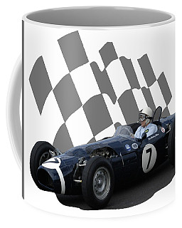 Coffee Mug featuring the photograph Vintage Racing Car And Flag 8 by John Colley