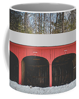 Coffee Mug featuring the photograph Vintage Red Carriage Barn Lyme by Edward Fielding